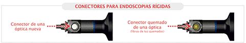comparación de un conector quemado de una óptica de endoscopio